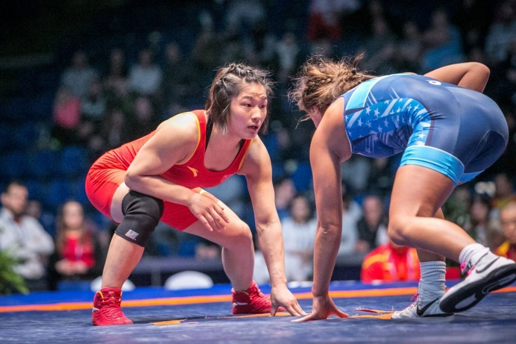 Allison Ragan was beaten by China's Pei Xingru in the women's 60kg gold medal bout ©UWW