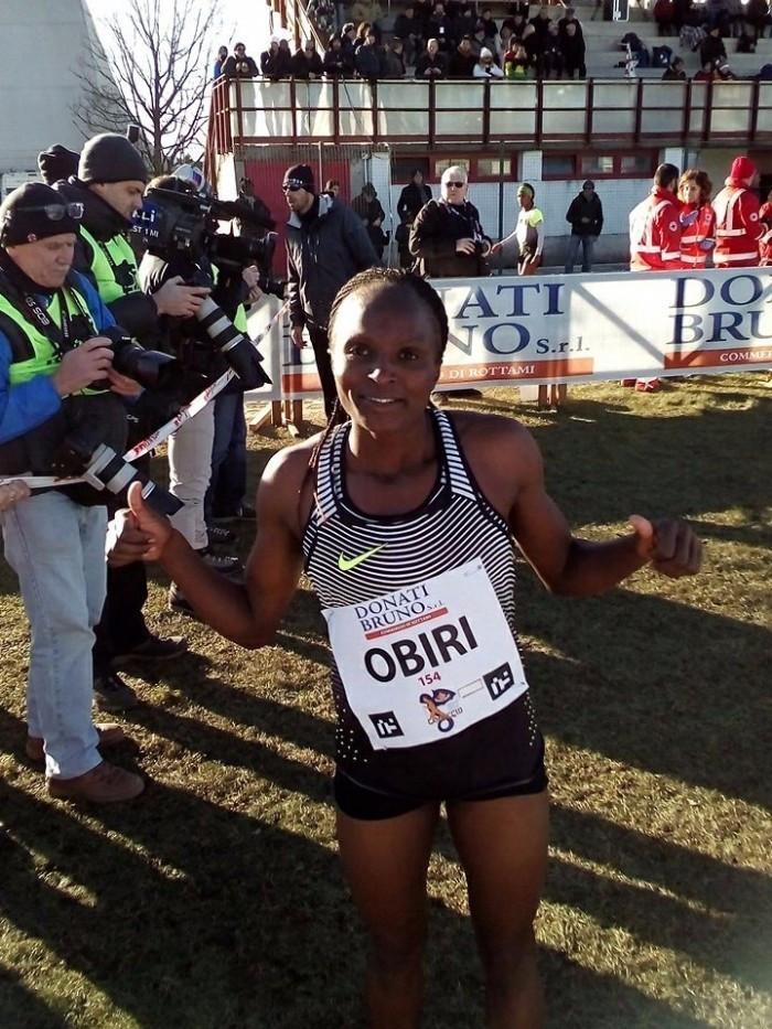 Kenya's Hellen Obiri celebrates her victory in the 6km women's race ©Campaccio Cross/Twitter