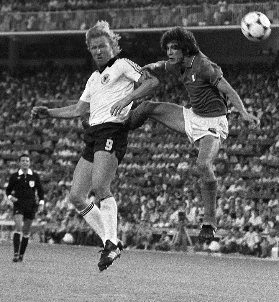 Horst Hrubesch (left) scored the only goal in the infamous 1-0 win over Austria at the 1982 World Cup ©Getty Images