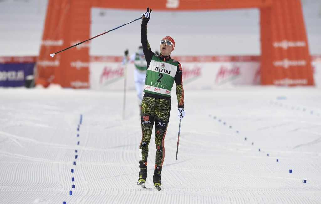 Frenzel points to the sky as he finishes in first place ©Getty Images
