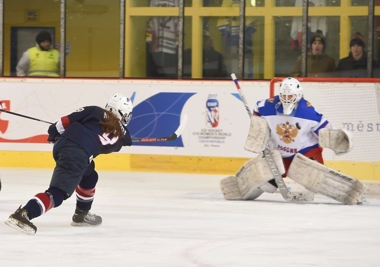 United States begin IIHF World Women's Under-18 Championship title defence by thrashing Russia