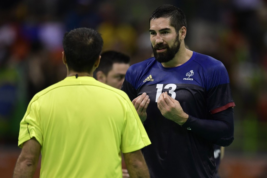 France's star performer Nikola Karabatic has a word with the referee during the Rio 2016 Olympic final ©Getty Images