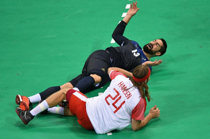 France's Nikolay Karabatic, reacting to a clash with Denmark's Mikkel Hansen during the Rio 2016 final, says of the new IHF rule on bringing on a seventh attacker: