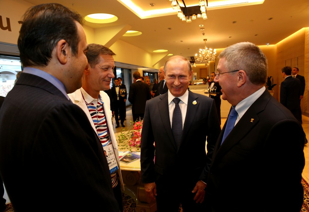 Gerhard Heiberg believes Thomas Bach (right) is less close to Vladimir Putin than is often claimed ©Getty Images