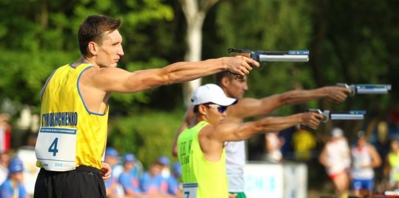 Ukraine's Pavlo Tymoshchenko produced a brilliant performance in the combined run/shoot to clinch the World Championships title and book a place at Rio 2016