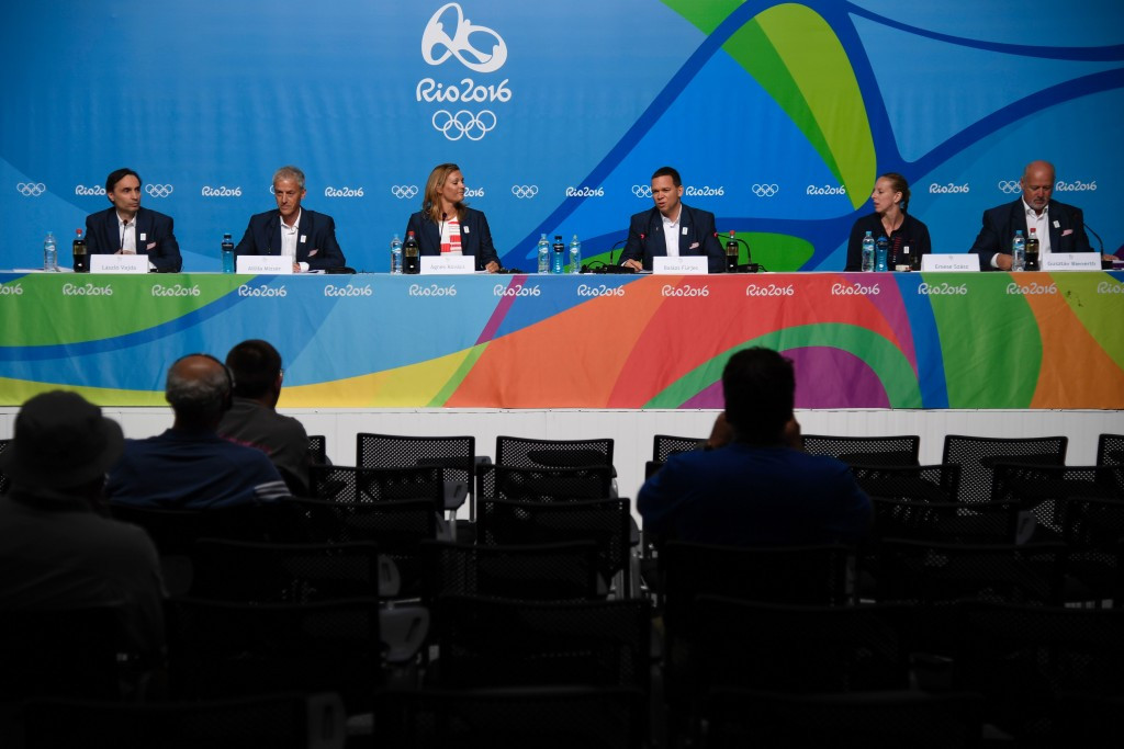 Gusztáv Bienerth (far right) is a vice-president of Budapest 2024 ©Getty Images