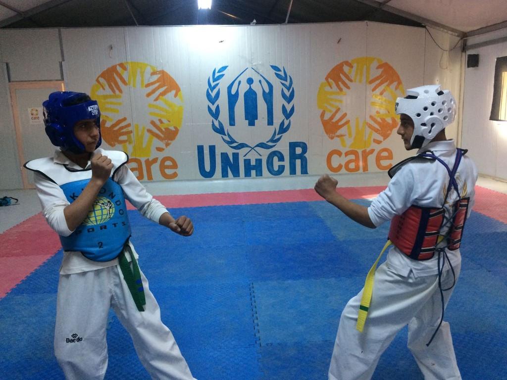 Taekwondo Humanitarian Foundation hosts mini-competition at Azraq refugee camp