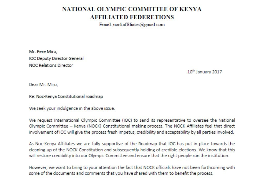 Andrew Mudibo wrote a letter to the IOC, requesting their assistance in the elections ©ITG