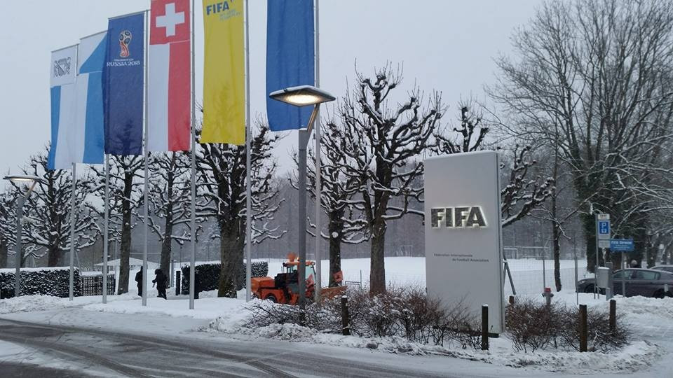 Today's Council took place in snowy conditions at the Swiss FIFA headquarters ©ITG