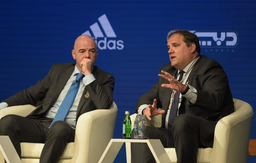 Canada's CONCACAF President Victor Montagliani, right, has defended the controversial way in which FIFA oversaw the process to expand the World Cup to 48 countries in 2026 ©Getty Images