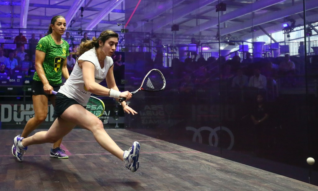 Egypt's Nour El-Sherbini, right, will be top seed for the women's competition