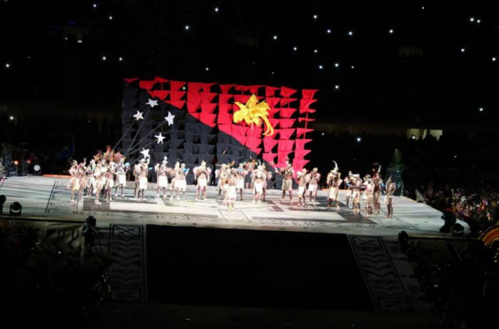 The Papua New Guinea flag fluttered proudly during the Opening Ceremony