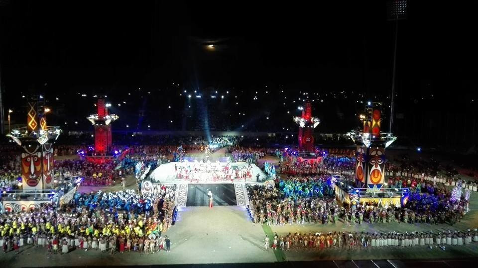 Athletes stayed in the middle of the arena in a break from the normal procedure at Opening Ceremonies