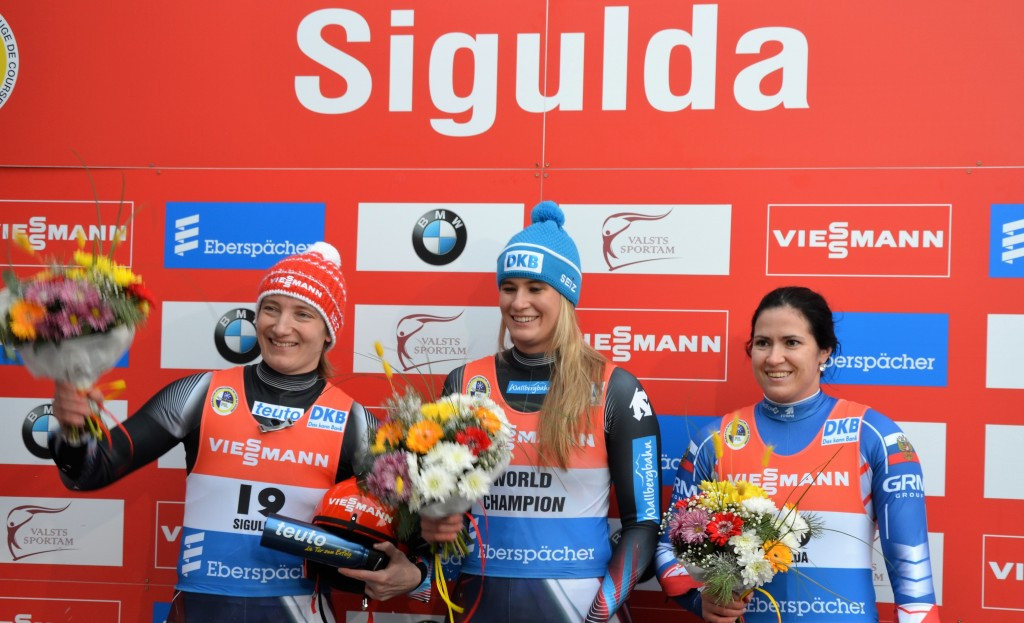 Natalie Geisenberger won the women's event at the FIL World Cup stage in Sigulda today ©Getty Images