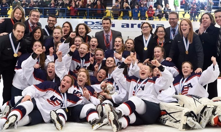 The United States have retained their IIHF Under-18 Women's World Championship title ©IIHF
