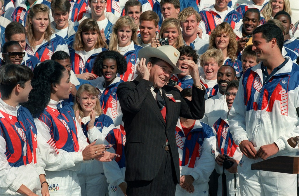 Ronald Reagan became the first incumbent President to open an Olympic Games in Los Angeles in 1984 ©Getty Images
