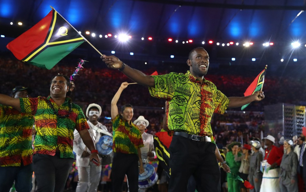 Vanuatu's team pictured marching at the Opening Ceremony of Rio 2016 ©Getty Images