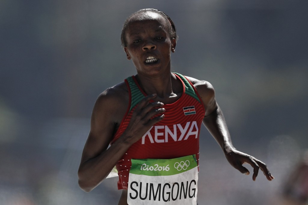 Olympic champion Jemima Sumgong is set to defend her London Marathon title in April ©Getty Images