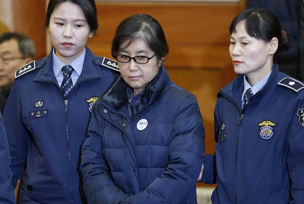 Choi Soon-sil, centre, has been accused of influencing preparations for Pyeongchang 2018 ©Getty Images