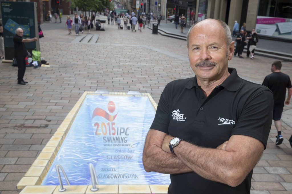Olympic gold medallist opens street art swimming pool to celebrate IPC Swimming Championships in Glasgow