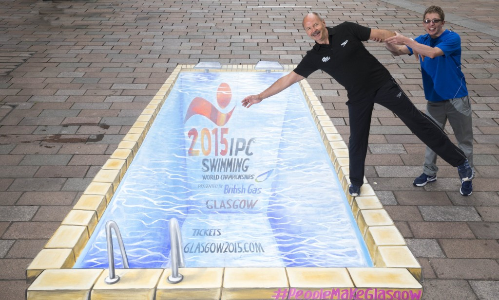 Montreal 1976 Olympic gold medallist David Wilkie was joined by Scot Quin, a member of Britain's team for the IPC Swimming World Championships in Glasgow, to unveil the special piece of street art