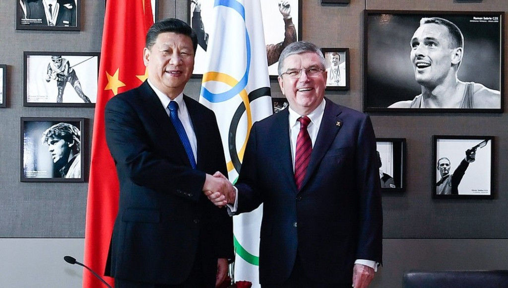 Xi Jinping met with Thomas Bach today in Lausanne ©IOC