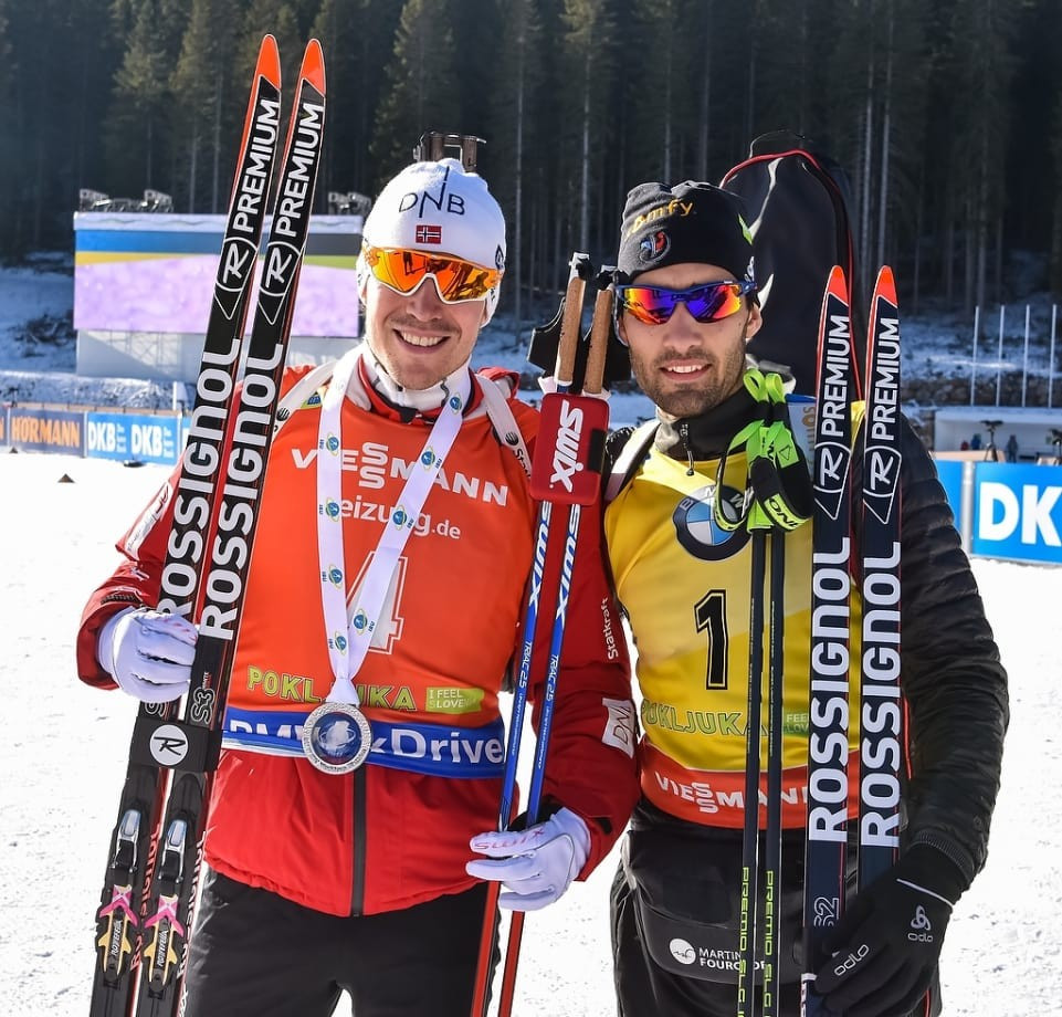 French star Martin Fourcade, right, will be aiming to keep hold of his overall World Cup lead in Antholz ©IBU