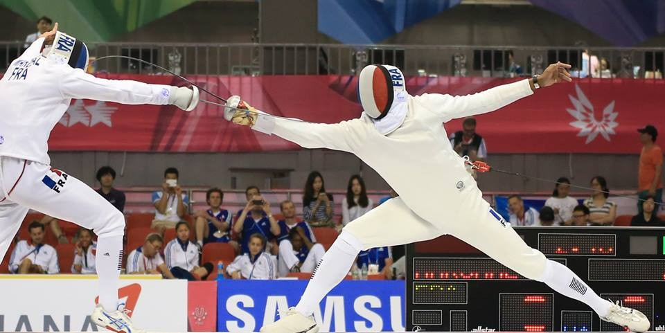 France continued their domination of the fencing, winning two more titles ©Facebook/Gwangju 2015