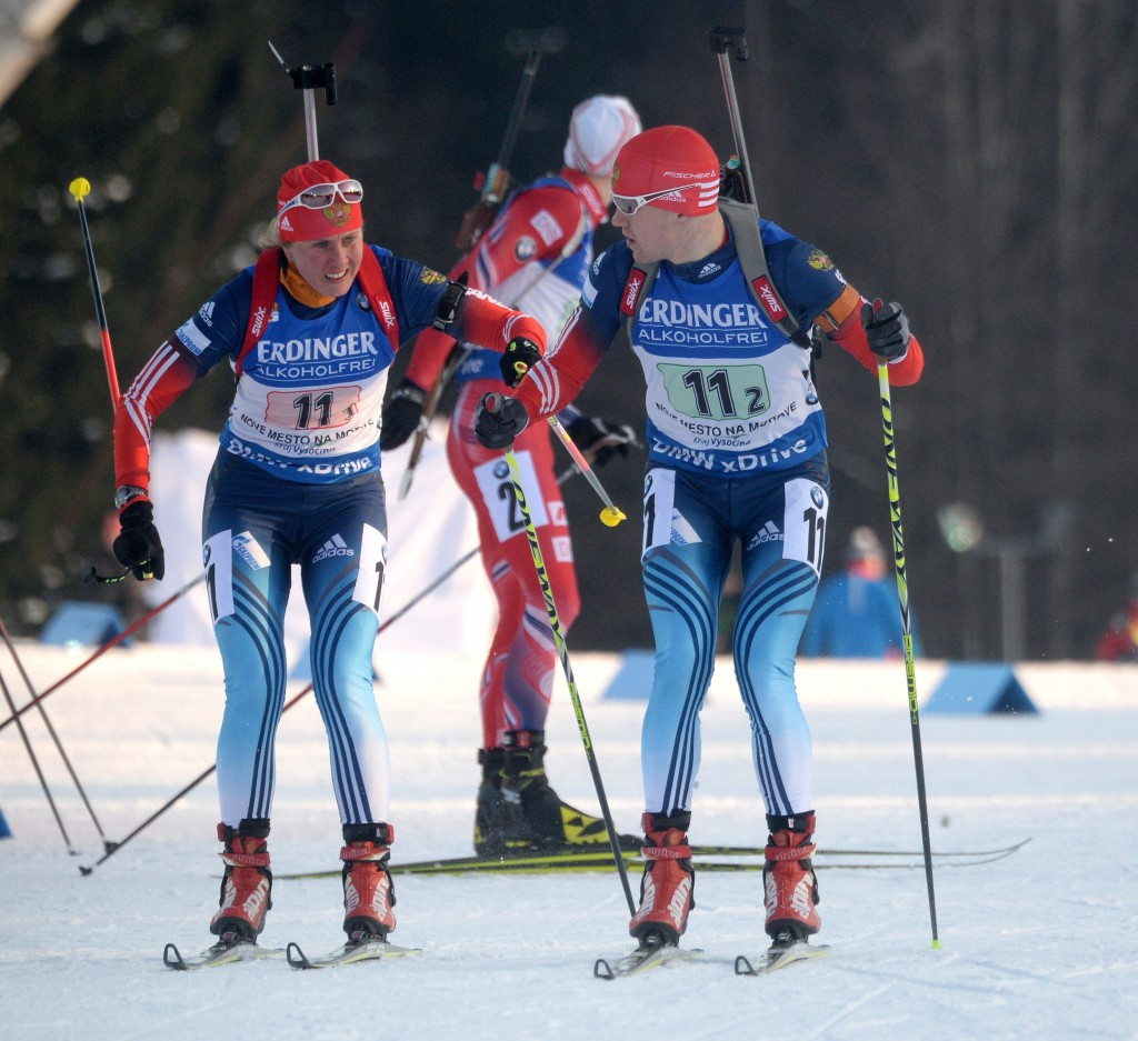 Yana Romanova, left, was one of two Russian biathletes provisionally suspended in December. There is no indication she deliberately took drugs ©Getty Images