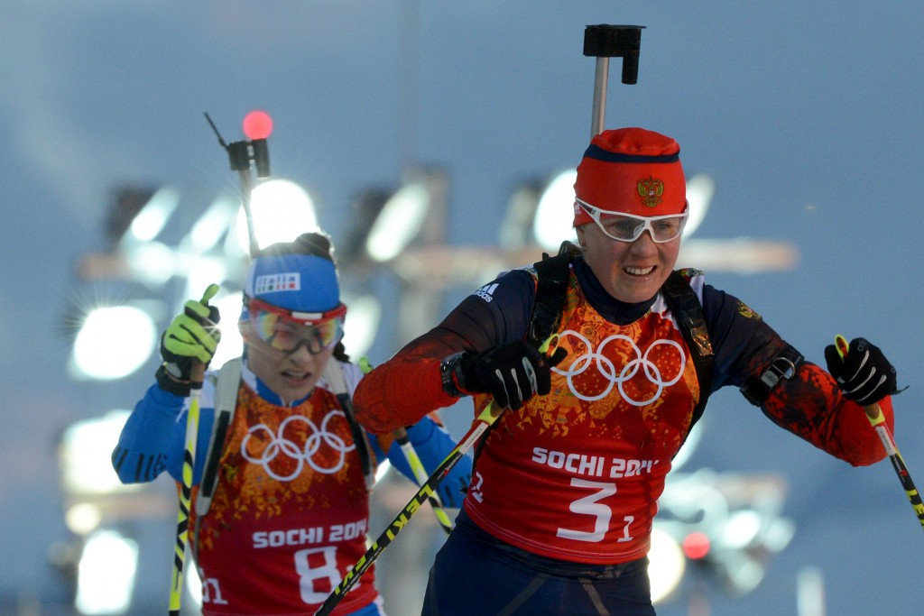 Yana Romanova, right, is one of two Russian biathletes to have been provisionally suspended by the RBU ©Getty Images