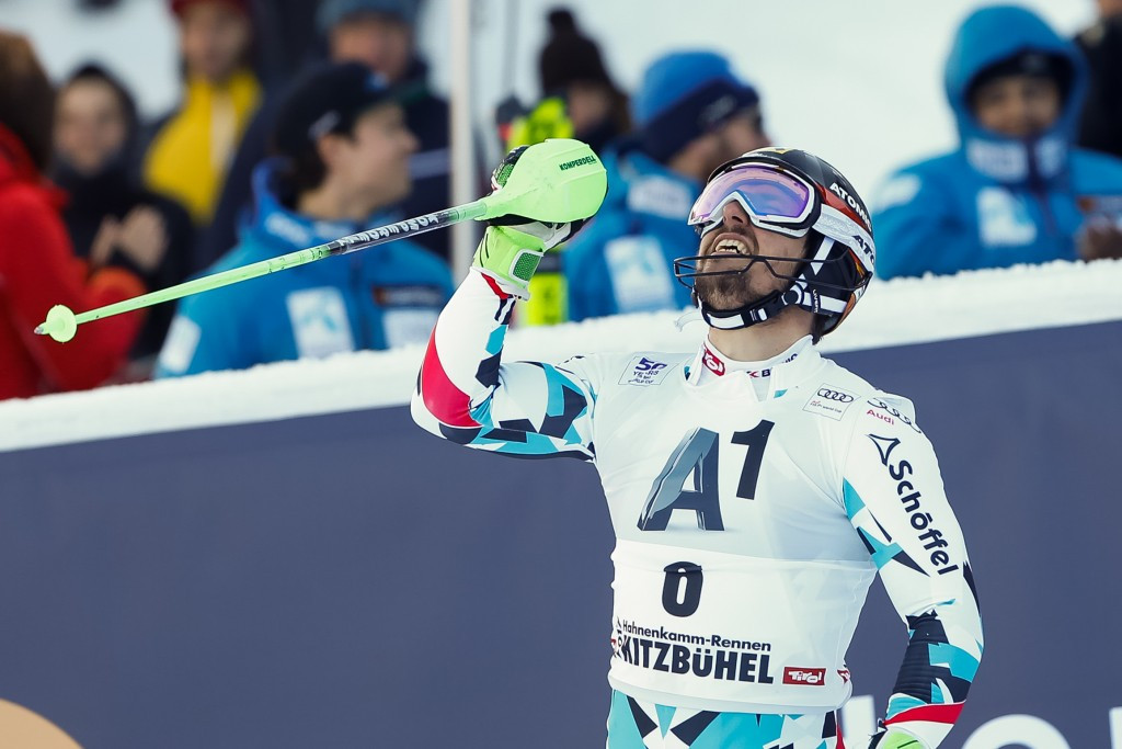 Home favourite Marcel Hirscher won the men's slalom at the FIS Alpine Skiing World Cup in Austrian town Kitzbühel today ©Getty Images