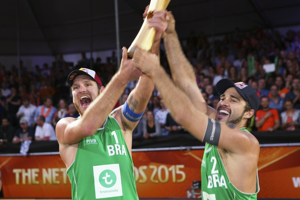 Beach volleyball stars Alison Cerutti and Bruno Oscar Schmidt should be two leading Brazilians at Rio 2016 ©Getty Images
