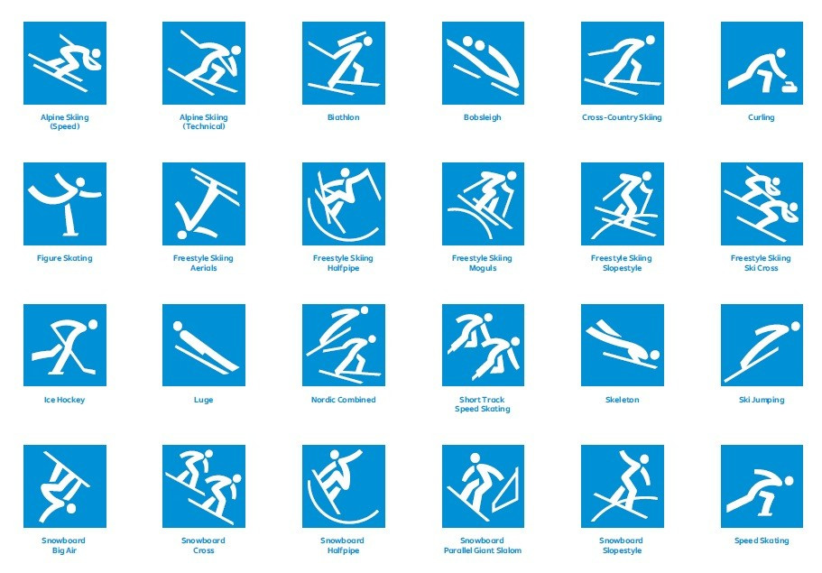 The pictograms have been designed based on the Korean alphabet known as Hangeul ©Pyeongchang2018
