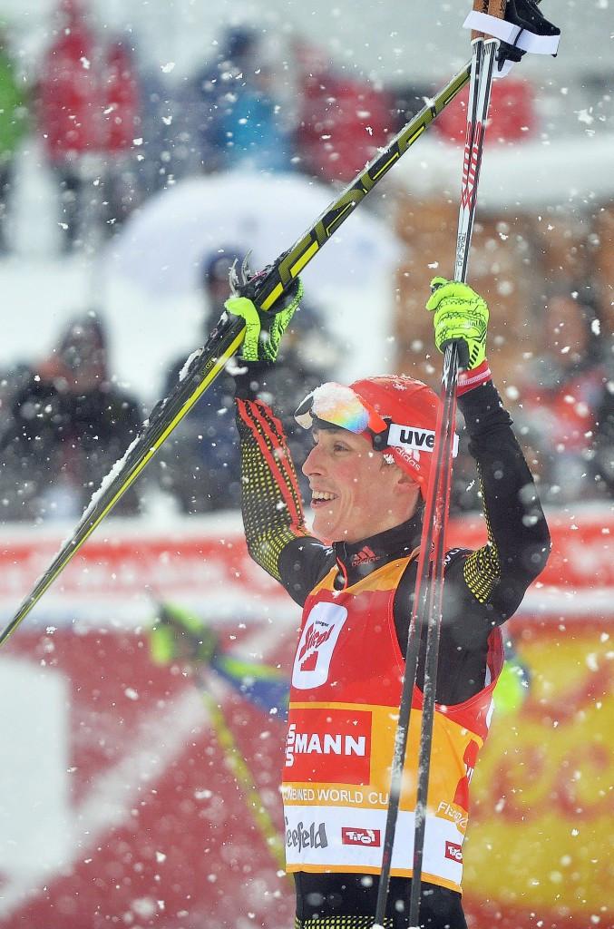 Germany's Eric Frenzel celebrates at last season's Seefeld Triple ©Getty Images