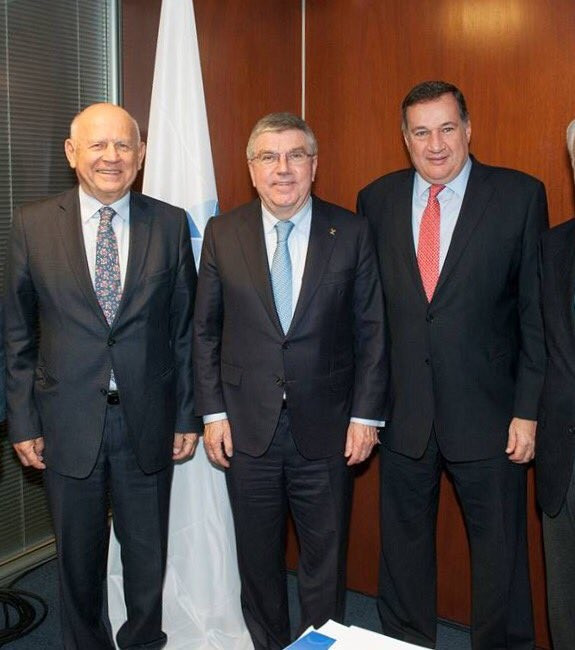 Spyros Capralos, right, has been appointed to monitor preparations for Minsk 2019 at a meeting attended by IOC President Thomas Bach, centre and EOC President Janez Kocijančič, left, in Lausanne ©Twitter