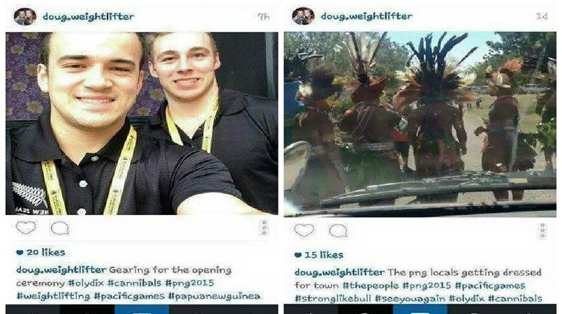 Douglas Sekone-Fraser sparked outrage by including #cannibals in posts ahead of the Pacific Games Opening Ceremony