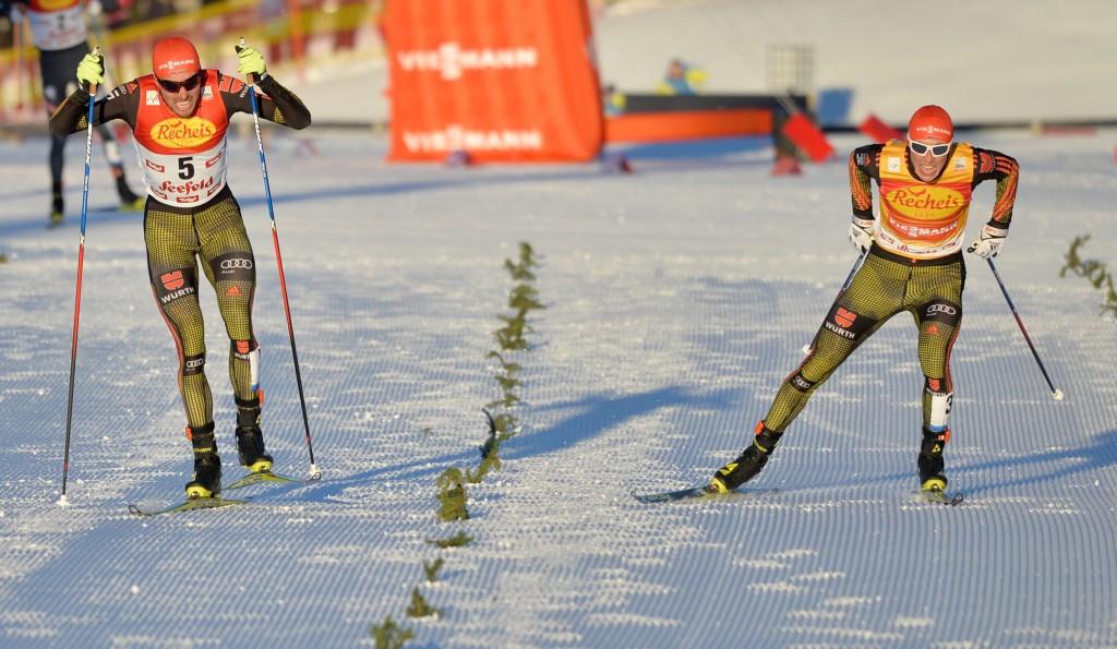 Johannes Rydzek (left) earned a narrow win over Eric Frenzel ©Getty Images