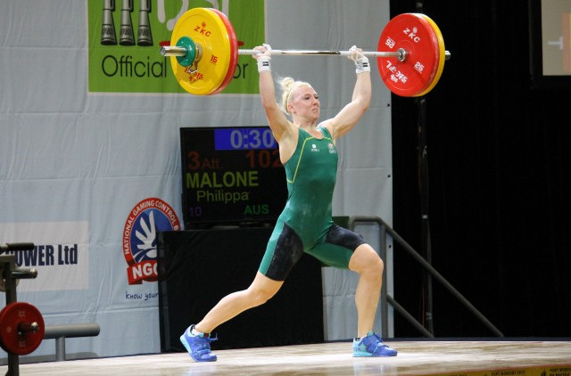 Australia's Philippa Malone totalled 188kg for overall gold in the women's 63kg category