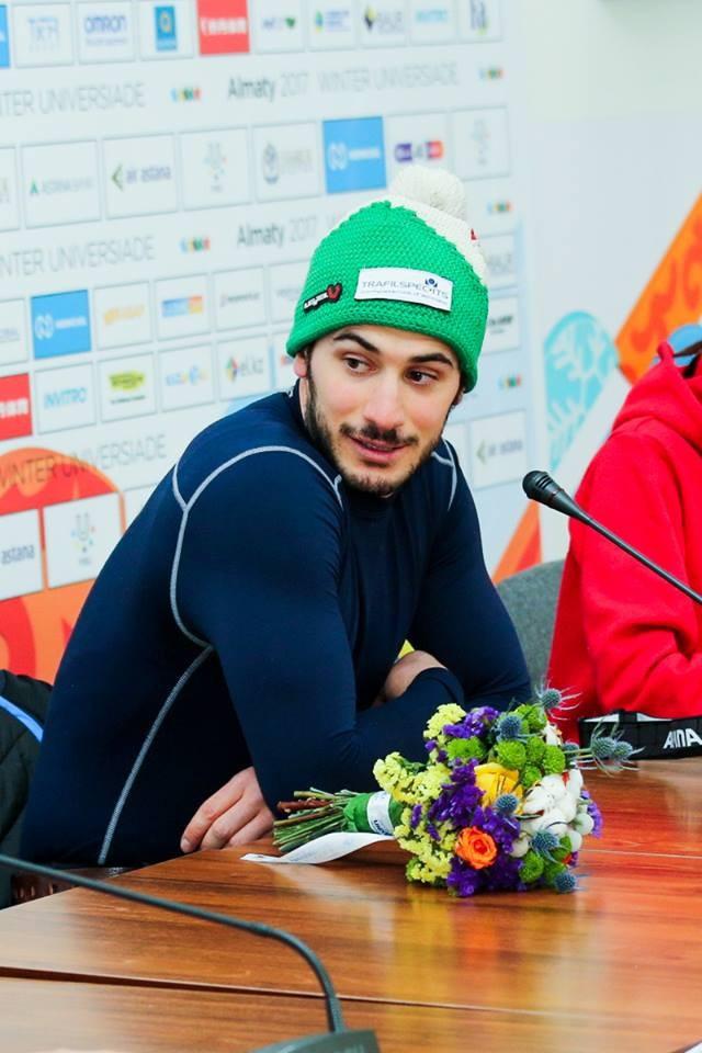 Italy's Michelangelo Tentori successfully defended his men's super-G title ©Almaty 2017/Facebook