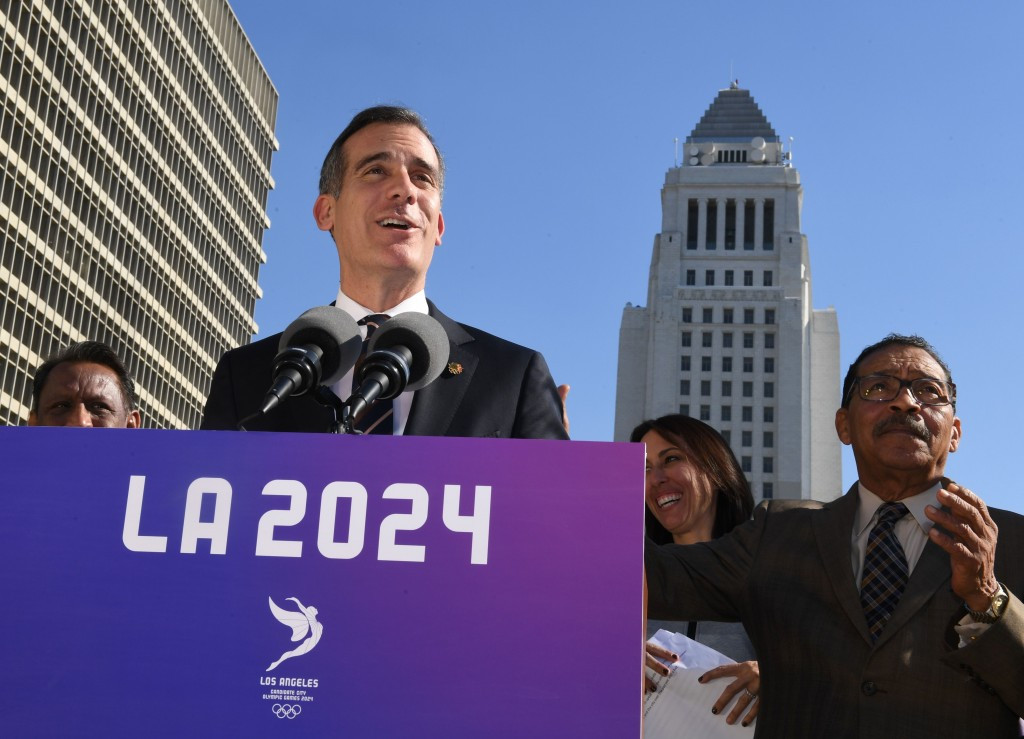 Los Angeles Mayor Eric Garcetti, pictured speaking following a Council meeting last week at which there was a unanimous show of support for the bid from the Californian city ©Getty Images