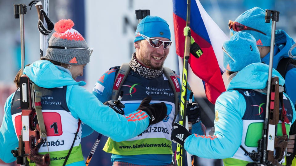 Russia celebrate their mixed team relay gold medal at the European Championships ©IBU