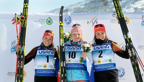 Polina Nekrasova of Russia won the junior women's classic sprint ©US Ski Team/Tom Kelly