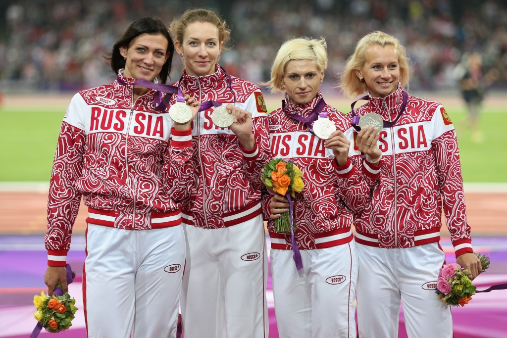 Russia's 4x400m relay team, including Antonina Krivoshapka, third left, will lose their silver medals from London 2012  ©Getty Images