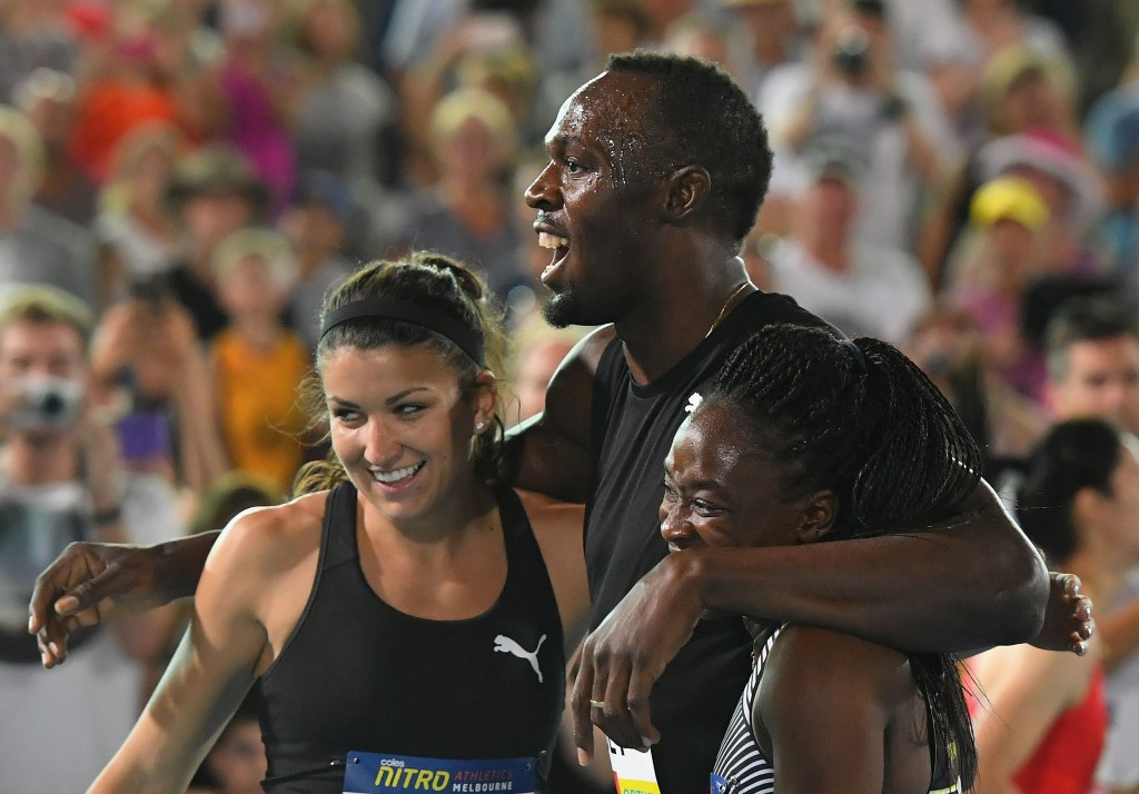 Usain Bolt celebrates Bolt All-Stars' relay win on the opening night of Nitro Athletics ©Getty Images