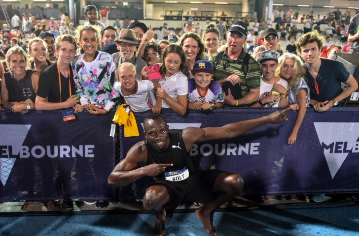 A familiar stance for Usain Bolt after his first competitive race in Australia at the Coles Nitro Athletics Melbourne first night ©Getty Images