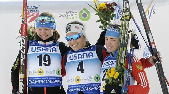 Norway's Lotta Udnes Weng won the women's under-23 2x7.5km skiathlon ©US Ski Team/Tom Kelly