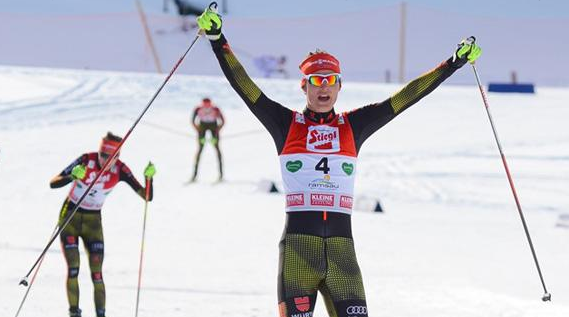 Germany's Vinzenz Geiger claimed the men's HS100/5km Nordic combined title ©FIS