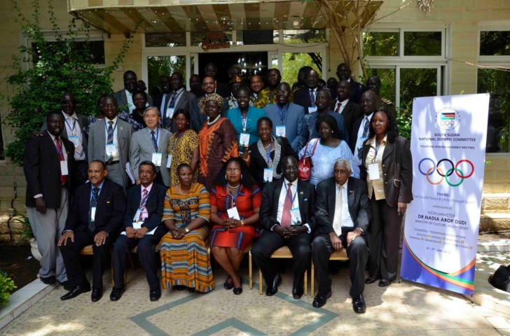 Members of the newly formed South Sudan Olympic Committee gathered following last month's founding meeting ©South Sudan Olympic Committee