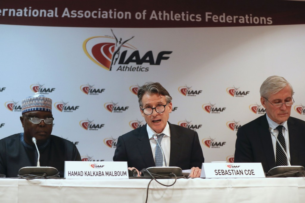 Hamad Kalkaba Malboum, left, alongside Sebastian Coe when announcing the changes today ©Getty Images