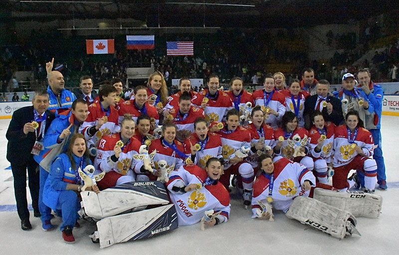 Russia successfully defended their Winter Universiade women's ice hockey title tonight after defeating Canada in a repeat of the 2015 gold medal match ©FISU